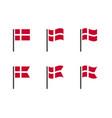 denmark flag symbols set national flag icons of vector image vector image
