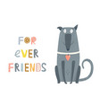 dog sitting forever friends text vector image vector image