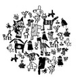 doodles drawing object animals and people isolate vector image vector image