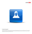 female user icon - 3d blue button vector image