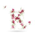 Floral letter K for your design vector image