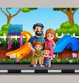 funny cartoon family in city park vector image