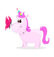 funny pink unicorn with butterfly cute magic vector image