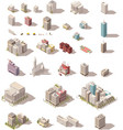 isometric low poly buildings set vector image