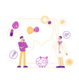 male patient and doctor characters stand near vector image vector image