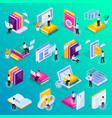 online education isometric icons vector image