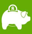 pig money box icon green vector image vector image