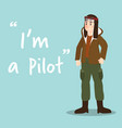 pilot character on sky blue background flat design vector image vector image