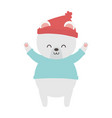 polar bear with hat hands up merry christmas vector image vector image