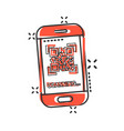 qr code scan phone icon in comic style scanner in vector image vector image