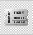 realistic silver cinema ticket isolated object vector image