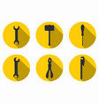 repair tools icons with a long shadow vector image vector image