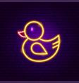 rubber duck neon sign vector image