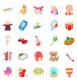 sander icons set cartoon style vector image vector image