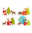 santa claus and big reindeer on white background vector image
