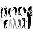 set golf players silhouettes vector image