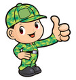 soldier character best gesture isolated on white vector image vector image