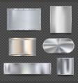steel banners realistic metallic shiny plaque vector image