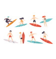 surfer people riding surfboards set young women vector image vector image