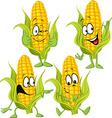 sweet corn cartoon with hands vector image