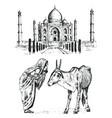 taj mahal an ancient palace in india monk vector image