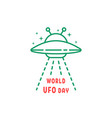 thin line world ufo day icon vector image