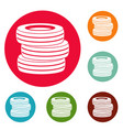 tire fitting icons circle set vector image vector image