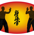 Two men show karate on an orange background vector image