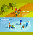 family outdoor activities isometric banners set vector image