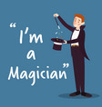 magician character with hat and wand on blue vector image
