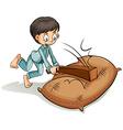 A boy hitting the sack vector image vector image