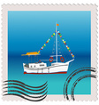 a postage stamp with sailing ship vector image