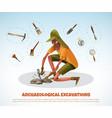archeological digging doodle background vector image