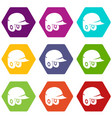 baseball helmet icon set color hexahedron vector image vector image