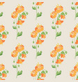 beige floral seamless pattern with orange flowers vector image vector image