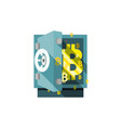 bitcoin safe armored box flat stile icon vector image vector image