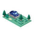 car parking and trees scene isometric icon vector image vector image
