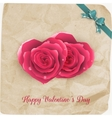 Card with red roses and vintage paper EPS 10 vector image