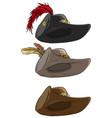 cartoon musketeer hat with belt and feather vector image
