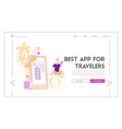 character use tourist app landing page template vector image