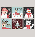 christmas cute greeting cards collection vector image