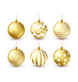 christmas tree shiny golden balls set new year vector image vector image