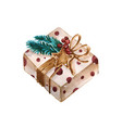 christmas watercolor gift box the box is vector image vector image
