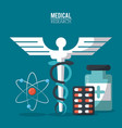 color poster medical research with caduceus symbol vector image vector image