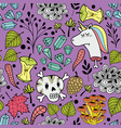 colorful endless pattern with cartoon skull and vector image