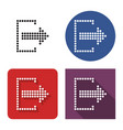 dotted icon exit logout in four variants with vector image vector image