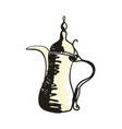 eastern coffee pot hand drawn icon vector image vector image