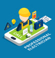 electricity isometric colored concept vector image vector image