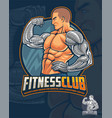 fitness club mascot and logo design vector image vector image
