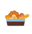 fresh bread and bakery products in basket vector image vector image